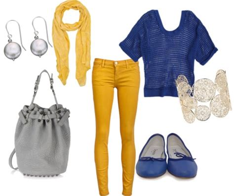 Yellow and Blue Cute Outfit with Jeans for Back to School