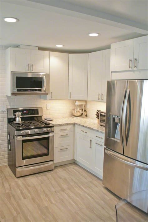 Small White Kitchen Ideas by Ikea Adel Cabinetry In White Cambria Countertops In