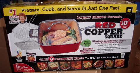 red copper chef square pan  piece set cookware pans    tv ebay