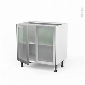 Facade Meuble De Cuisine : meuble bas cuisine fa ade alu vitr e 2 portes l80xh70xp58 ~ Edinachiropracticcenter.com Idées de Décoration