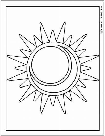 Moon Sun Coloring Pages Star Pdf Radiant