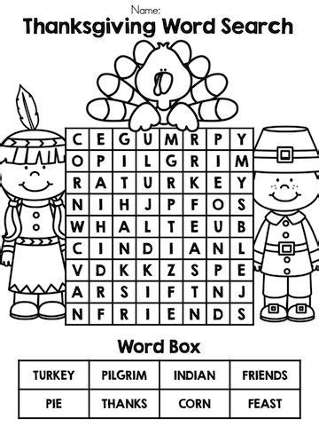 thanksgiving kindergarten language arts worksheets thanksgiving word search language arts