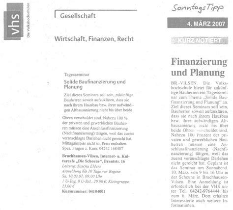 Hausfinanzierung Planen Sie Clever Und Solide by Presseberichte U A 252 Ber Bau Und Energieberatung 183 Dipl