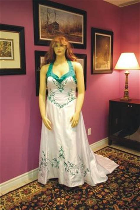size  white wedding dress teal accents  sale