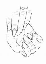 Nail Coloring Clipart Pages Adult Colouring Hand Printable Sketch Drawings Acrylic Designs Line Nails Sheets Short Drawing Blank Coffin Stiletto sketch template