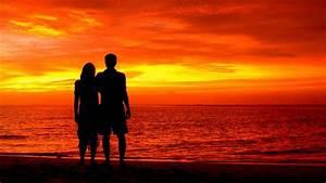 Wallpaper Couple, Silhouette, Romantic, Beach, Sunset, 4K ...