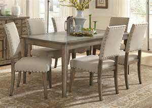 casual rustic 7 piece dining table and chairs set by