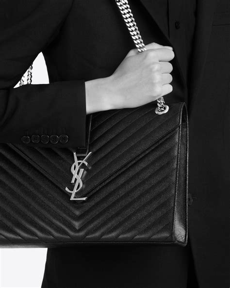 saint laurent large envelope chain bag  black textured