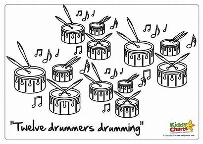 Drummers Drumming Christmas Coloring Pages 12th Kiddycharts