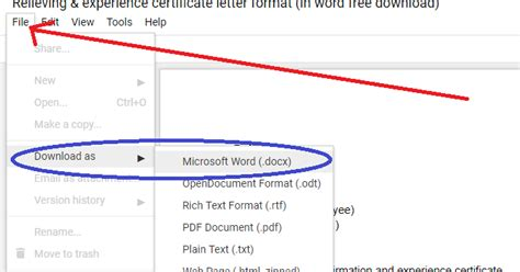 relieving experience certificate format  word