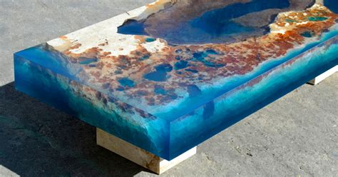 New Cut Stone Tables Encased In Resin Mimic An Ocean Reef