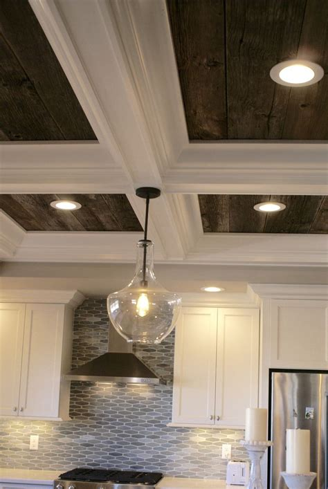barnwood coffered ceiling simple kitchen remodel tile