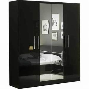 Armoire Noir Laqué : armoire 4 portes avec miroir central coloris noir laqu achat vente armoire de chambre ~ Teatrodelosmanantiales.com Idées de Décoration