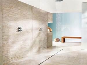 Parement Salle De Bain : douche italienne en pierre de parement avec rigole sur ~ Melissatoandfro.com Idées de Décoration