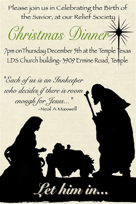 lds christmas program of the temple 2nd ward relief society quot let him in quot program december rs meeting
