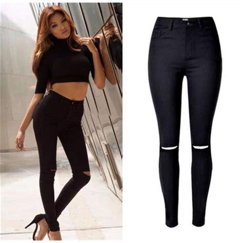 pantalon de cuisine femme femme élastique slim déchiré pantalon taille haute x été mode chic noir achat