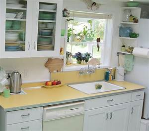 maile remodels a dark 1970s kitchen into a sunny 1940s With kitchen colors with white cabinets with old fashioned sticker