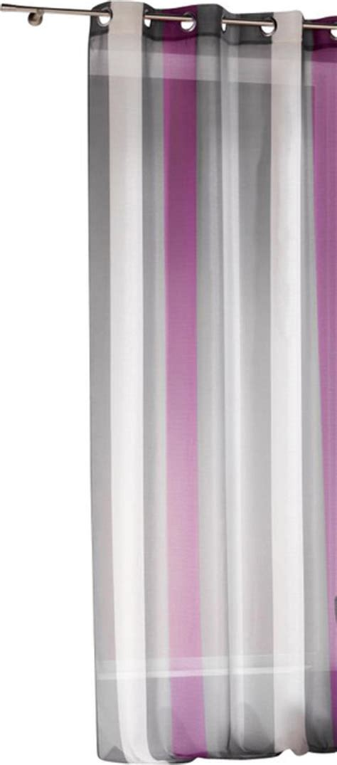 striped sheer grommet curtain panels riviera plum gray