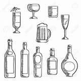 Liquor Alcohol Bottles Whiskey Beer Clipart Sketch Bottle Wine Vodka Glasses Drawing Line Supporting Sterke Cocktail Filled Beverages Mixed Icons sketch template