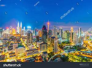 Downtown Kuala Lumpur Skyline Twilight Malaysia Stock ...