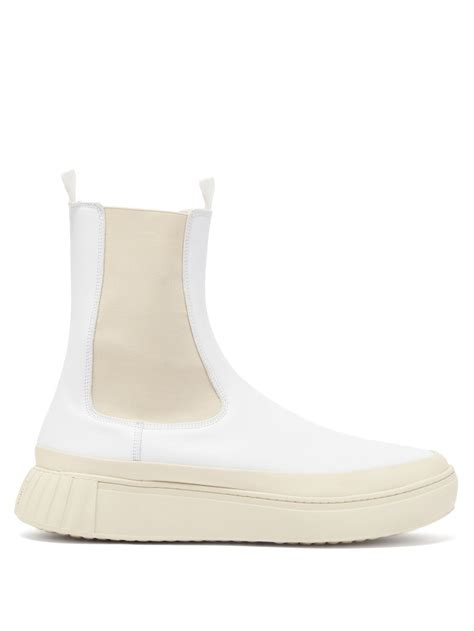 White Waffle chunky-sole leather Chelsea boots | Primury ...