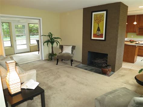 painted brick fireplace traditional living room