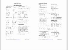 Algebra cheat sheet UIUX Design & Cheatsheet