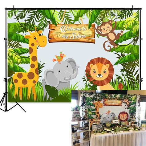Mehofoto Jungle Safari Party Photo Backdrop Animals Forest