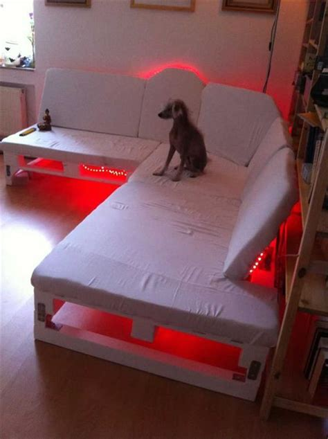 DIY Recycled Pallet Sofa with Lights   Recycled Pallet Ideas