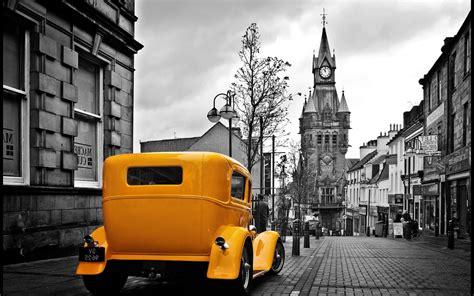 vintage yellow car   gray city wallpapers hd desktop