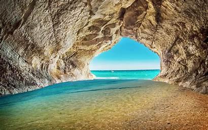 Sea Cave Rock Water Beach 4k Background