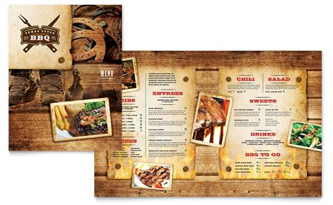 Menu Brochure Template Word by Steakhouse Bbq Restaurant Menu Template Word Publisher