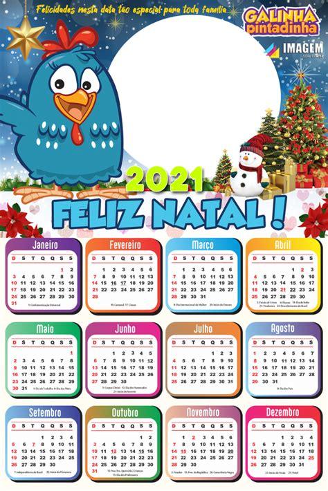 Calendário 2021 Feliz Natal Galinha Pintadinha Imagem Legal