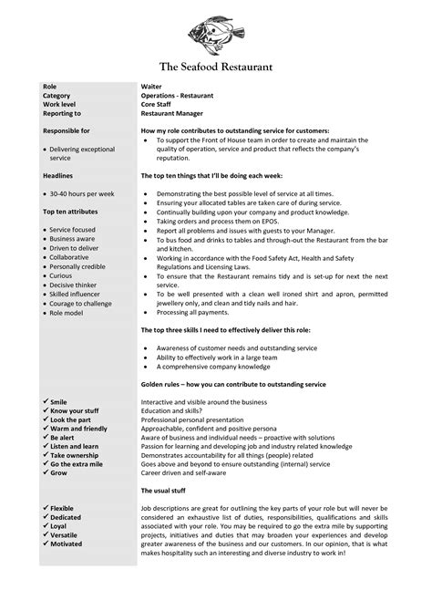 Way To Describe Waitress On Resume by Waitress Description For Resume Berathen