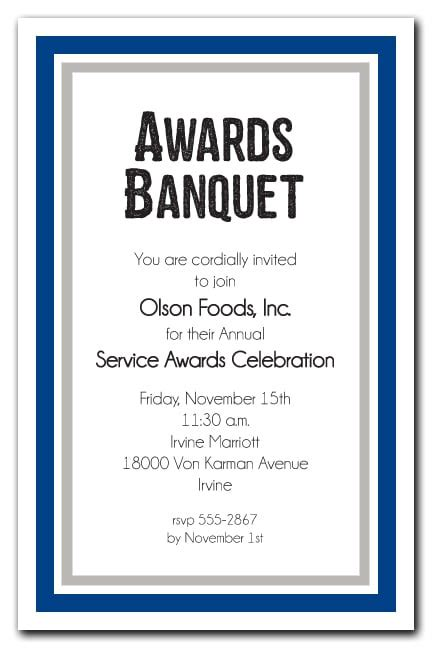 navy blue  silver border business awards party invitations