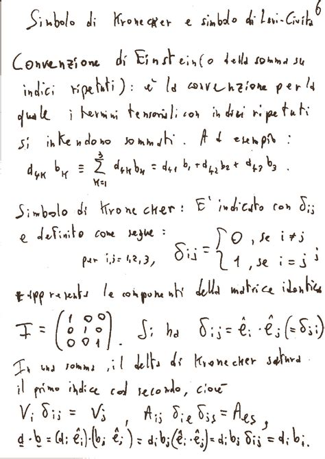 fisica matematica dispense kronecker e levi civita simboli dispense