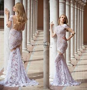 new fashion gownlace lilac wedding dress mermaid long With lilac dress for wedding