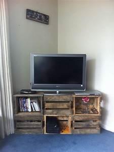 Table Tv But : crate tv stand on pinterest pallet tv stands corner tv stands and small hallway decorating ~ Teatrodelosmanantiales.com Idées de Décoration