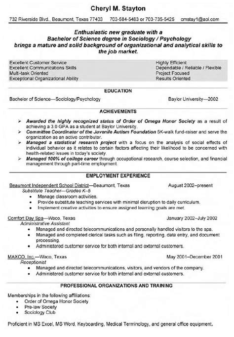 Profile Resume Exles For Teachers by Qualifications Resume Substitute Resumes 2016