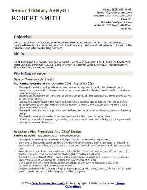 Resume Build Relationships by Senior Treasury Analyst Resume Sles Qwikresume