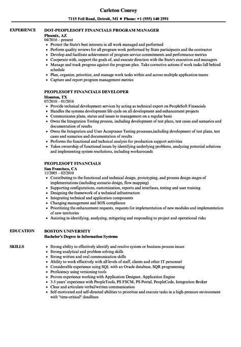 Resume Peoplesoft by Peoplesoft Financials Resume Sles Velvet