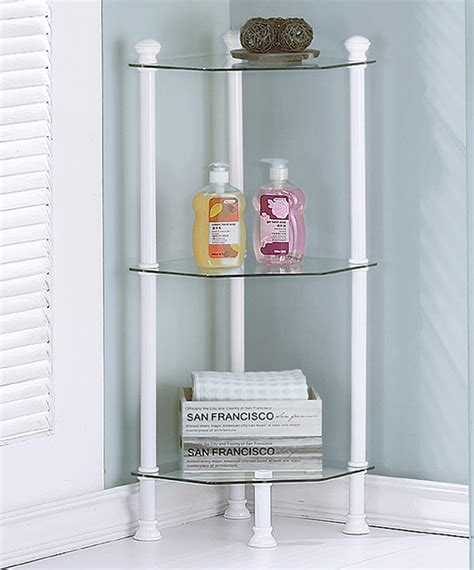 Corner Etagere Bathroom by White Metal Glass Corner Etagere Contemporary