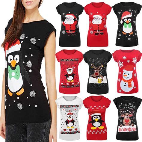 womens ladies christmas glitter t shirt reindeer santa
