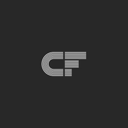 monogram cf letters initials logo combination  letters