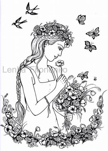 Coloring Adult Adults Woman Therapy Flowers Face