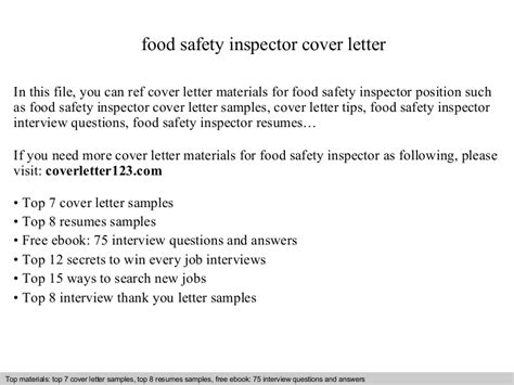 and safety inspector cover letter food safety inspector cover letter