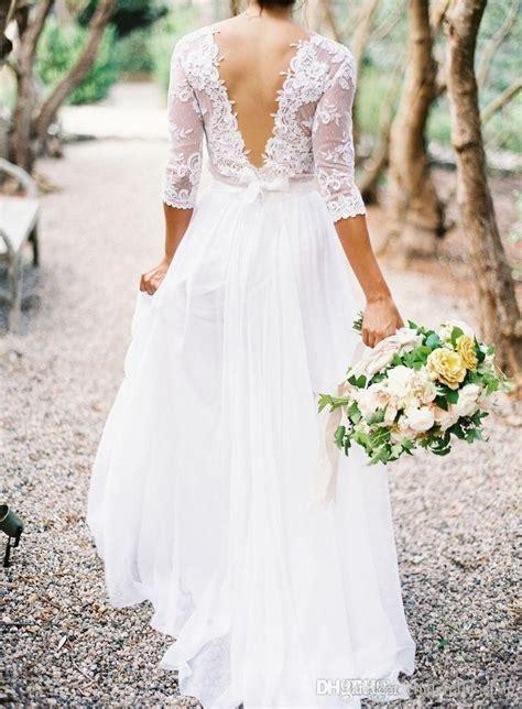 3/4 Long Sleeves Lace Summer Beach Wedding Dresses Deep V ...