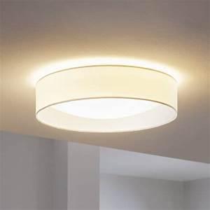 Eglo pasteri led white fabric flush ceiling light