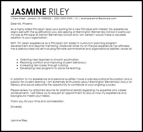 principal cover letter sample cover letter templates