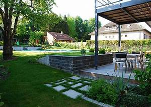 muret jardin simple muret ensisheim with muret jardin With photo terrasse bois piscine 6 piscine terrasse bois muret portillon allee sable graminee